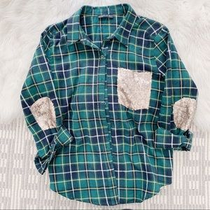 Tops - Sequin plaid flannel